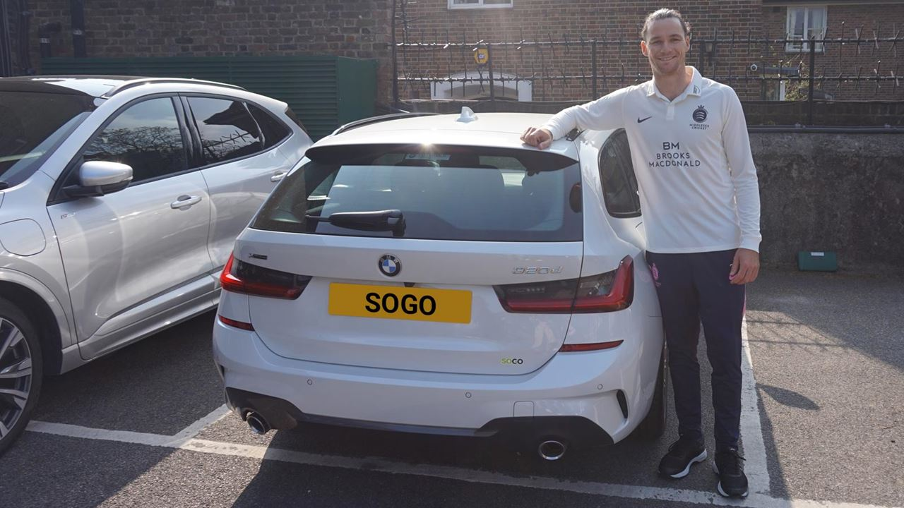 Peter Handscomb, international Australian cricket player, and new Middlesex cricket captain takes delivery of a new SOGO supplied BMW